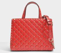 Rockstud Spike Tote Tasche aus Valentino rotem Split Leder