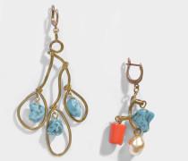 Asymmetrical Ohrringe mit Pendant Schmucksteinen aus hell blauem Harz