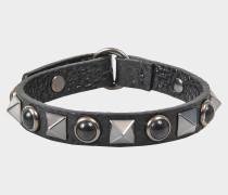 Armband Rolling Rockstud Leder und Onyx
