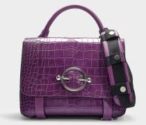Handtasche Disc Satchel aus lila Kalbsleder mit Krokoprägung