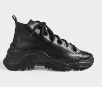 Hightop Sneaker Oversize aus schwarzem, glattem Kalbsleder