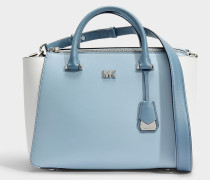Nolita Medium Satchel Tasche aus weißem und blauem Leder