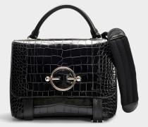Handtasche Disc Satchel mit Kalbsleder und Krokoprägung in Schwarz