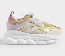 Sneaker Sports Oversized Chain aus weißem, goldenem und rosa Kalbsleder