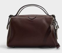 Handtasche Laural Frame aus Bordeauxrotem Kalbsleder