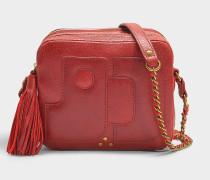 Handtasche mit Schulterriemen Pascal aus Lammleder und aus Ziegenleder mit Lack in Rot