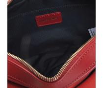 Ethan Saddle Tasche aus rotem glattem Leder und Nubuk