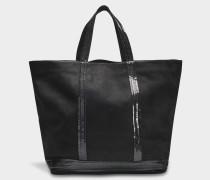 Washed Leder und Pailletten Medium + Tote Bag aus schwarzer Kuhleder