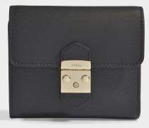 Kleines Portemonnaie Metropolis mit Taschenklappe aus schwarzem Kalbsleder