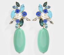 Ohrringe Wonderfulandia aus Messing, Perlen und Swarovskikristallen