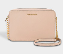 Large East West Crossbody Bag in Soft Pink Crossgrain Leather