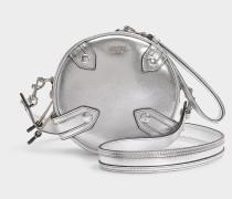 Schultertasche Round aus Ziegenleder Metallic