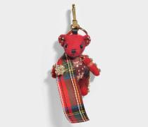 Thomas Tartan Schal Schlüsselanhänger aus rotem Kaschmir