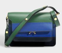 Trunk Medium Tricolor Tasche aus EmeraldSchmucksteinen, blauem und dunklem Kalbsleder