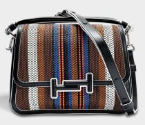 Double T Stuoia Small Messenger Tasche aus Teck gesticktem rotem Kalbsleder