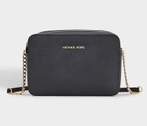Large EW Crossbody Tasche aus schwarzem Saffiano Leder