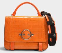 Handtasche Disc Satchel mit Kalbsleder und Krokoprägung in Orange