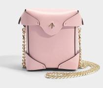 Micro Pristine Tasche mit Chain Strap aus bubblegumfarbenem Vegetable Tanned Kalbsleder