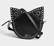 Rocky Choupette Tambour Crossbody Tasche aus schwarzem glattem Kalbsleder