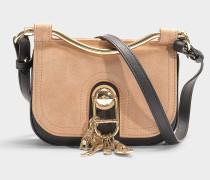 Handtasche mit Schulterriemen Misti aus sandfarbenem Kalbsleder