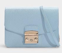 Kleine Handtasche Metropolis aus blauem Kalbsleder