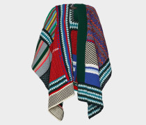 Patchwork Panel Knitted Poncho aus mehrfarbiger Wolle