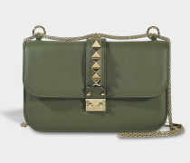 Lock Small Shoulder Bag aus Oasis Khaki Kalbsleder