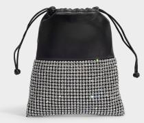 Mini Rucksack Ryan aus schwarzem Lammleder und Strass