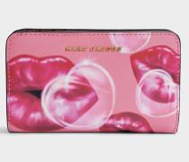 Lips Compact Geldbörse aus Tea rosanem Split Kuhleder