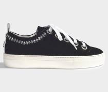 Sneaker aus schwarzem Samt und Kristallen
