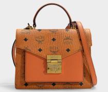 Kleine Schultasche Patricia Visetos aus cognacfarbenem PVC