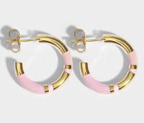 Positano Mini Hoop Ohrringe in Babyrosanem aus 18K vergoldetem Messing