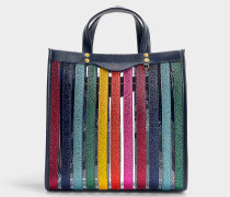 Kleiner Shopper Multi Stripes aus buntem Kalbsleder