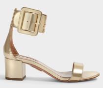 Casablanca Sandalen 50 aus Soft goldfarbenem Nappaleder Laminata Leder