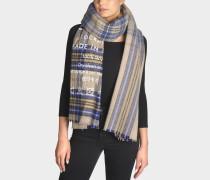 Cassiar Check Schal aus Wolle mit blauem und beigem Karomuster