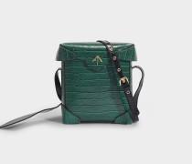 Mini Pristine Tasche aus Grünem und Schwarzem Kroko-Geprägtem und Weichen Lackleder