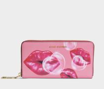 Lips Stundard Continental Geldbörse aus Tea rosanem Split Kuhleder