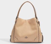 Handtasche Edie 31 mit Nieten aus hellbraunem Kalbsleder