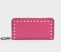 Portemonnaie Continental mit Reißverschluss Rockstud aus aus rosa Kalbsleder