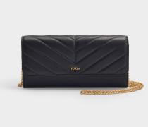 Portemonnaie Maggia XL Chain aus schwarzem Leder