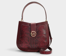 Lillie Large Hobo Messenger Bag in Burgundy Calfskin