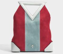 Triangle North Tote Tasche aus rotem, hell blauem und Mint grünem Vegetable Tanned Clafskin und Wildleder