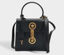 Tribute Icon Medusa Vertical Small Top Handle Tasche aus schwarzem Kalbsleder