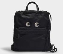 Drawstring Crystal Eyes Rucksack aus schwarzem Nylon
