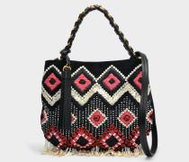 Brooke Embellished Small Hobo Tasche aus schwarzem Kalbsleder