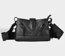 Kalifornia Mini Shoulder Bag with Strap aus schwarzem Kalbsleder