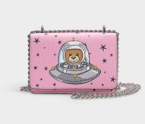 Handtasche mit Taschenklappe Teddy in the Space aus Synthetikmaterial Rosa