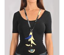 Halskette mit Blume aus Corn Metall Leder
