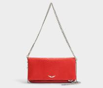 Handtasche mit Schulterriemen Rock Savage aus rotem Kalbsleder