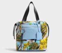Daydreamer Medium Tasche aus mehrfarbigem Baby blauem Kalbsleder und Drill Baumwolle